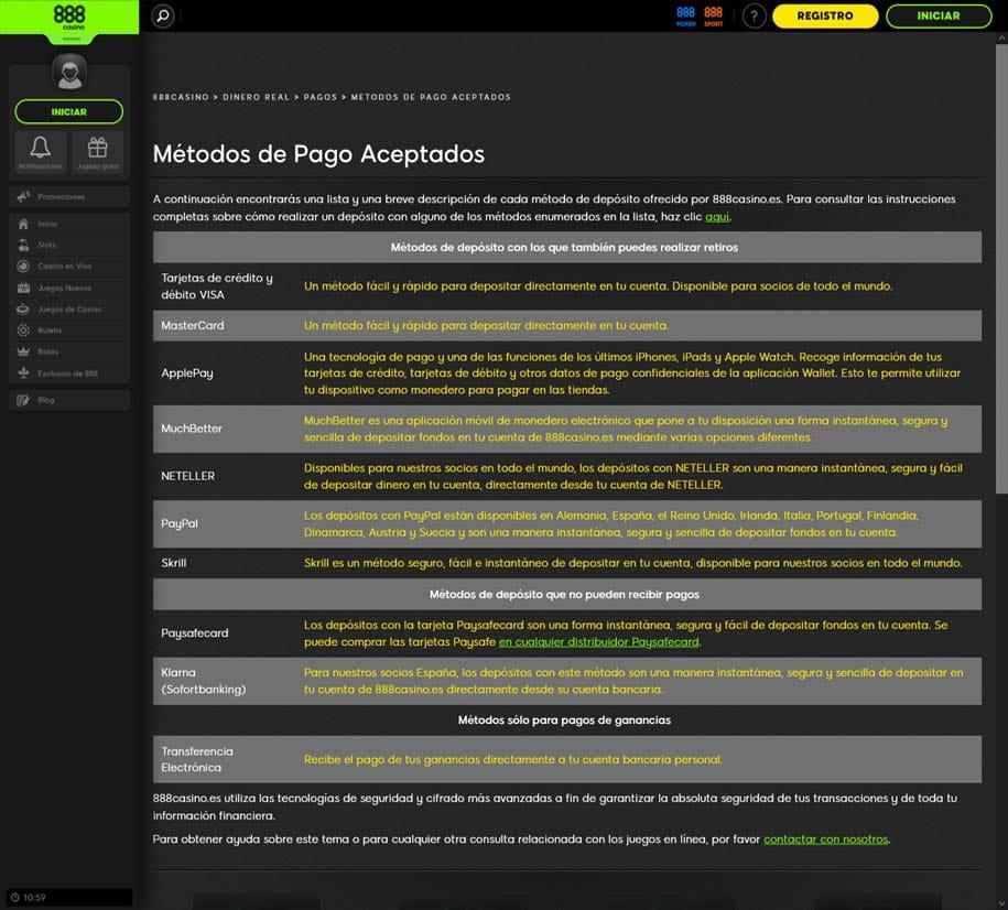 Metodos de Pago Online en Casino.com Colombia